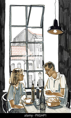Couple having lunch in a restaurant by the window with a view of the city. Hand drawn cute sketchy style marker pen illustration. - Stock Photo