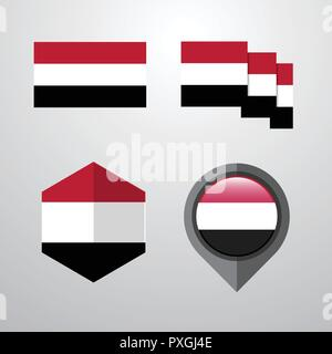Yemen flag design set vector - Stock Photo