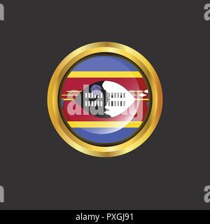Swaziland flag Golden button - Stock Photo