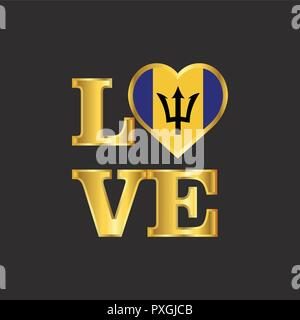 Love typography Barbados flag design vector Gold lettering - Stock Photo