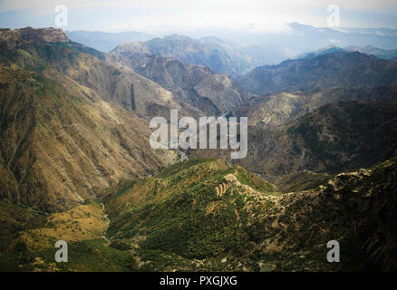 Panorama view to Adi Alauti canyon at Eritrean Highlands , Qohaito, Eritrea - Stock Photo