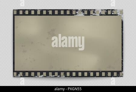 Grunge stained film strip with shadow on squared background. Vector illustration - Stock Photo