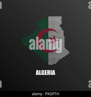 Vector illustration of abstract halftone map of Algeria made of square pixels with Algerian national flag colors for your graphic and web design - Stock Photo