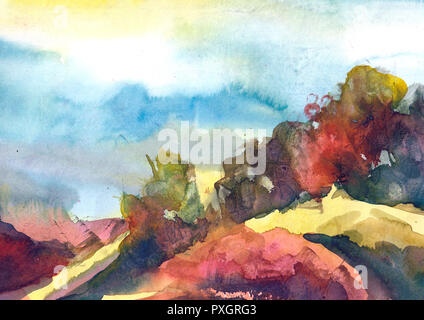 Watercolor painting colorful landscape. Spring, summer season nature watercolor background