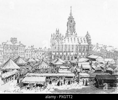 Stalls of all shapes and sizes fill the town square of Middelburg, in front of the 16th century Town Hall : this was a Hanse trading centre in former days.     Date: circa 1880 - Stock Photo