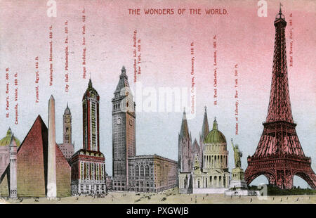 The Wonders of the World - some of the principal architectural gems of the world in 1913, including the Eiffel Tower in Paris, France, the Pyramids of Giza in Egypt, The Washington Monument, the Singer Building, the Metropolitan Life Building, New York and St. Paul's Cathedral, London.     Date: 1913 - Stock Photo