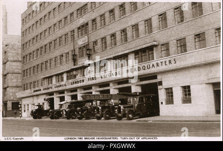 The iconic LFB (London Fire Brigade) Headquarters building - Lambeth, London.     Date: circa 1930s - Stock Photo