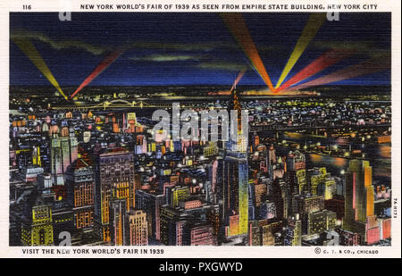 New York Skyline Illuminations - New York World's Fair of 1939 as seen from the top of the Empire State Building, NYC, USA.     Date: 1939 - Stock Photo
