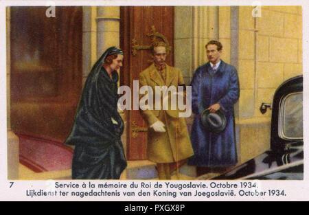 Queen Astrid of Belgium & King Leopold III of Belgium at a Memorial Service for King Alexander I of Yugoslavia - October 1934.     Date: 1934
