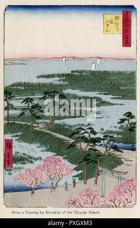 Torii of Moto-Hachiman Shrine, Edo Bay from the series One Hundred Views of Famous Places in Edo (Meisho edo hyakkei) by Utagawa Hiroshige (1797-1858)     Date: 1859 - Stock Photo