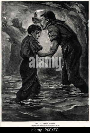 'Entombed miners.' Illustration showing the vivid idea of one of the dangers of collier's life. This scene was at Tynewydd pit, in the Rhondda  Valley, Glamorganshire, northeast of Cardiff. Most miners had just finished their shift and were making their way towards the shaft to be raised, when there was a loud roar, suddenly they could hear rushing water, many miners forced to the bottom of the shaft due to the amount of water, walking through dark tunnels to their escape.     Date: 11 April 1877 - Stock Photo