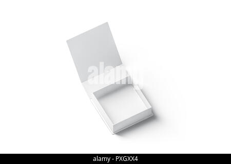 Blank white opened gift box mockup, isolated, 3d rendering. Empty present package mock up. Clear small surprise case for anniversary or birthday. Celebration wedding presentation template. - Stock Photo