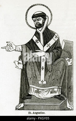 St Augustine of Hippo (354 - 430), Roman African, early Christian theologian and philosopher from Numidia whose writings influenced the development of Western Christianity and Western philosophy.     Date: circa 620 AD - Stock Photo