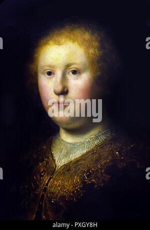 Portrait of a Young Woman 1632  Rembrandt Harmenszoon van Rijn 1606-1669 Dutch The Netherlands - Stock Photo