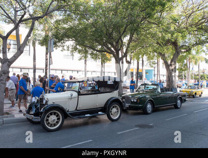 Ford A, Bentley Continental convertible and Fiat 850 sport coupé. Classic car meeting at Torremolinos, Málaga, Spain. - Stock Photo