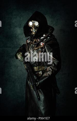 Portrait of a post apocalyptic warrior - Stock Photo