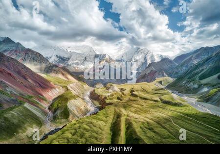 Mount Lenin seen from Basecamp in Kyrgyzstan taken in August 2018 - Stock Photo