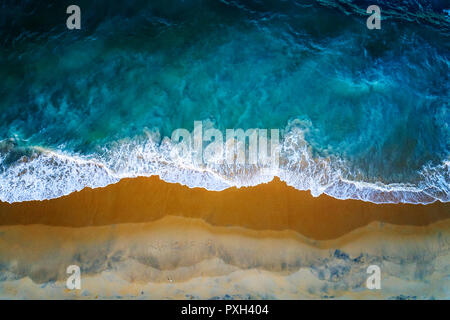 Sea, sand and surf, a drone view of a beach in Northern Sri Lanka - Stock Photo