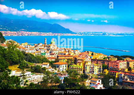 Vietri sul Mare and Salerno town in Amalfi coast, panoramic view. Campania Italy, Europe - Stock Photo
