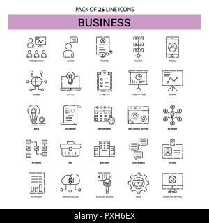 Business  Line Icon Set - 25 Dashed Outline Style - Stock Photo