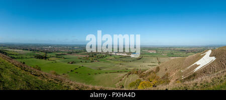 Panoramic view of the White Horse, Westbury and the Cement Factory , Westbury, Wiltshire, UK from Westbury Hill. - Stock Photo