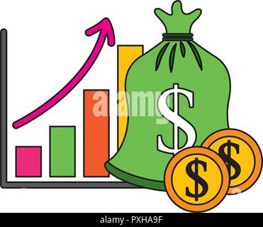 save money bag coins chart financial vector illustration - Stock Photo