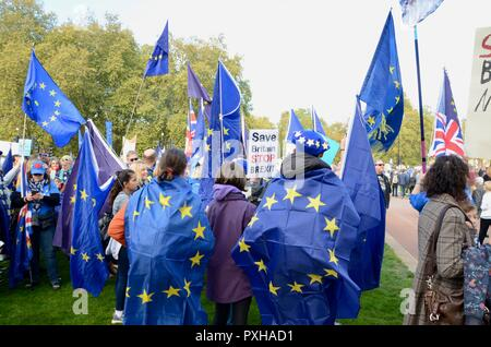people wearing and holding european union flags at the peoples vote march in london october 20th 2018 - Stock Photo