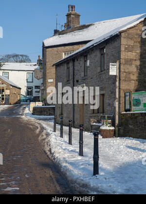 Winter view of Grassington Folk Museum in North Yorkshire after snow