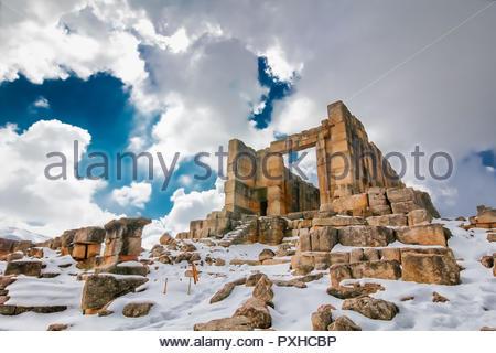 "Sfireh temple (""Qalaat al-Hosn"") - Romanian fortress castle in winter in Miniyeh-Danniyeh district, Lebanon - Stock Photo"