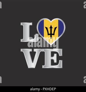 Love typography Barbados flag design vector beautiful lettering - Stock Photo