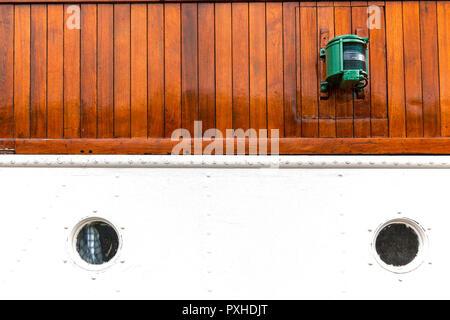 Part of the wheel house of veteran passenger steam ship Granvin, built 1931. Based in the port of Bergen, Norway - Stock Photo