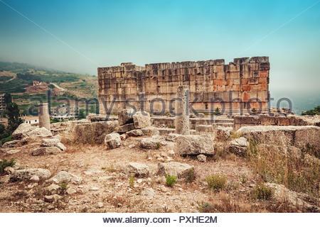 "Sfireh temple (""Qalaat al-Hosn"") - Romanian fortress castle in Miniyeh-Danniyeh district, Lebanon - Stock Photo"