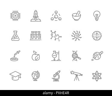 Set of science and research line icons. Chip, rocket, atom, ion, lamp, tube, bulb, neuron, brain, dna, molecule, lab, space, microscope, telescope and more. - Stock Photo
