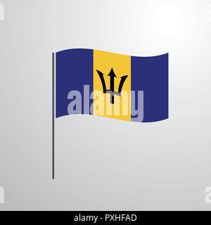 Barbados waving Flag - Stock Photo