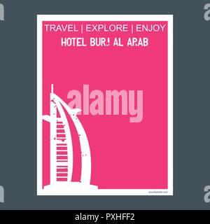 Hotel Burj Al Arab Dubai‎, United Arab Emirates monument landmark brochure Flat style and typography vector - Stock Photo