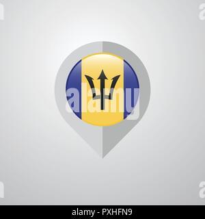 Map Navigation pointer with Barbados flag design vector - Stock Photo