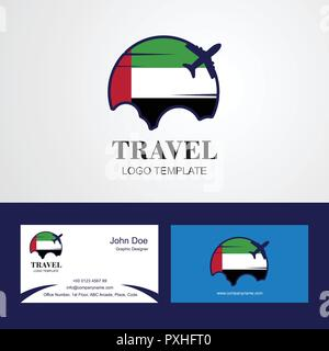 Travel UAE Flag Logo and Visiting Card Design - Stock Photo