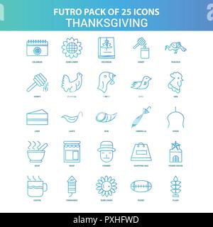 25 Green and Blue Futuro Thanksgiving  Icon Pack - Stock Photo