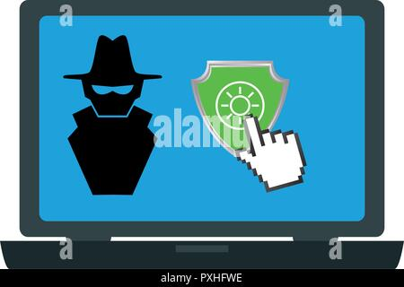 laptop computer with anti spy secure vector illustration design - Stock Photo