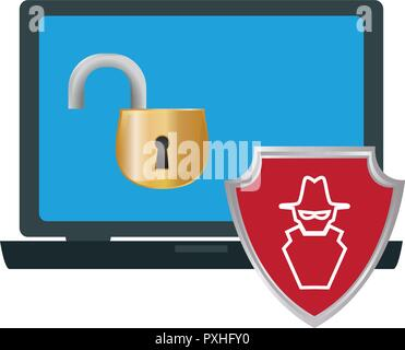 laptop with anti spy protection vector illustration design - Stock Photo