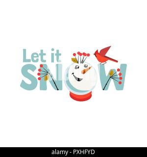Holiday wishes Let it Snow. Fancy letters. Cartoon playful fun snowman snow ball. Template for Merry Christmas winter season greeting card background, - Stock Photo