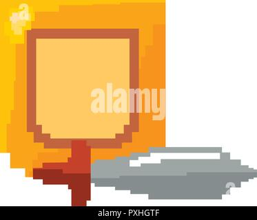sword and shield pixel video game vector illustration - Stock Photo