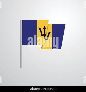 Barbados waving Flag design vector - Stock Photo