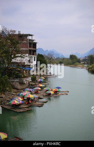 Bamboo rafting in Li river Guilin, Yulong river Yangshuo, Guangxi CHINA - Stock Photo