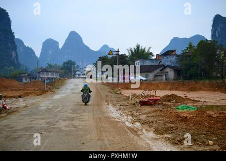 Karst landscape, hills of Yangshuo, Guilin, Guangxi, China - Stock Photo