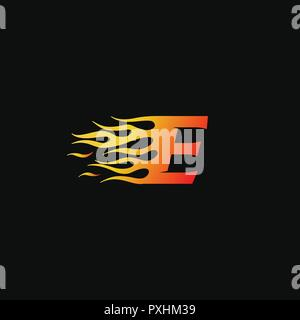 letter E Burning flame logo design template - Stock Photo