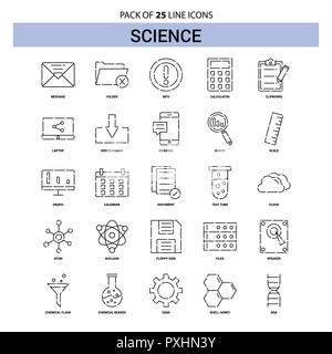 Science Line Icon Set - 25 Dashed Outline Style - Stock Photo