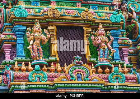 Deities on the gopura of the Mariamman Temple in Bangkok, Thailand. - Stock Photo