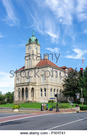 Rockingham County Courthouse in the downtown historic district in Harrisonburg, Virginia USA - Stock Photo