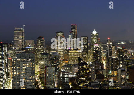 A View Over Elliott bay and Seattle Urban Downtown City Skyline Buildings Waterfront from Space needle - Stock Photo